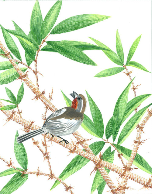 bamboo painting, bird on bamboo, green painting, forest painting, tribal art, gond art,Bamboo 1,ART_283_11052,Artist : Suruchi Agarwal,Acrylic