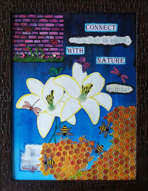 mixed media,texture,nature,floral,butterfly,dragon fly.ladybug,wall,blue,,Connect with Nature,ART_65_11906,Artist : Sarandha D L,Mixed Media