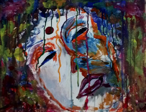 color, rain, face,enjoyment, ,Color Rain,ART_1416_11759,Artist : Ananth Mahadevan,Acrylic