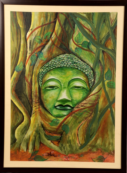 BUDDHA, OIL PAINTINGS, PAINTING ON CANVAS,WATER COLOUR,BUDDHA IN TREE,ART_1455_11926,Artist : SNEHA SNEHA,Water Colors