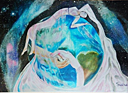 Earth,World,men,women,Base of whole  world- Man and women,ART_1454_11956,Artist : Sudha  Sharma,Oil