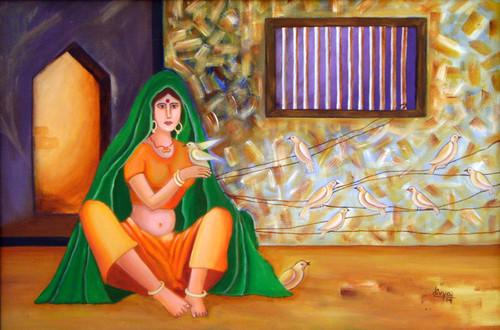 Village Life, Lady, Birds, Feminine, Rajasthani,A Lady Playing With Birds,ART_1462_11957,Artist : Divya Kakkar,Acrylic