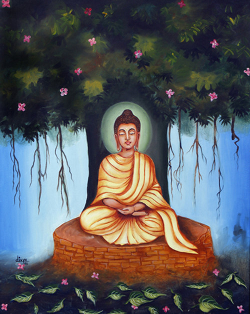 Buddha, Meditation, Tree, Peace, Portrait,GAUTAM BUDDHA,ART_1462_11944,Artist : Divya Kakkar,Oil