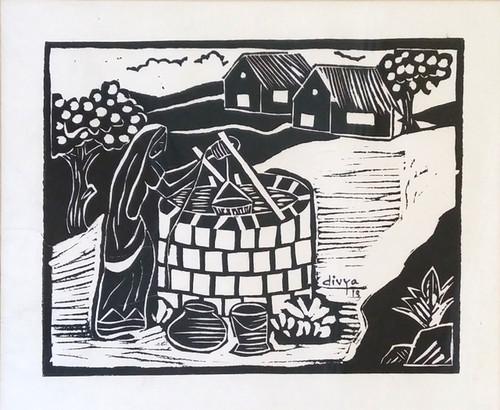 Village, Lady, Well, Feminine, Black,A Village Scene,ART_1462_11998,Artist : Divya Kakkar,Ink