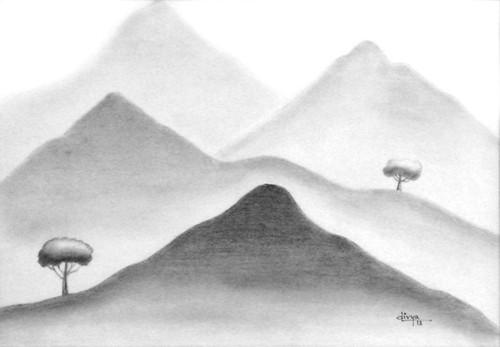 Mountains, Landscape, Pencil, Nature,Mountainscape,ART_1462_11995,Artist : Divya Kakkar,Pencil