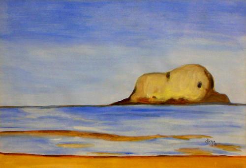 Seascape, Sea, Ocean, Water, Peace, Mountain, Nature,Seascape,ART_1462_11990,Artist : Divya Kakkar,Water Colors