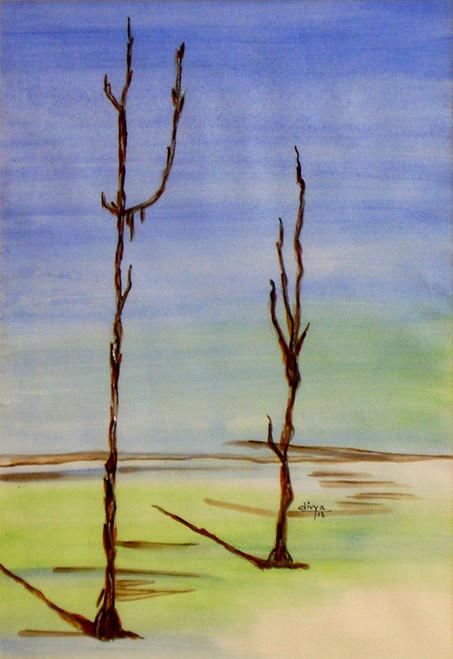 trees, nature, landscape,Dry Trees,ART_1462_11988,Artist : Divya Kakkar,Water Colors