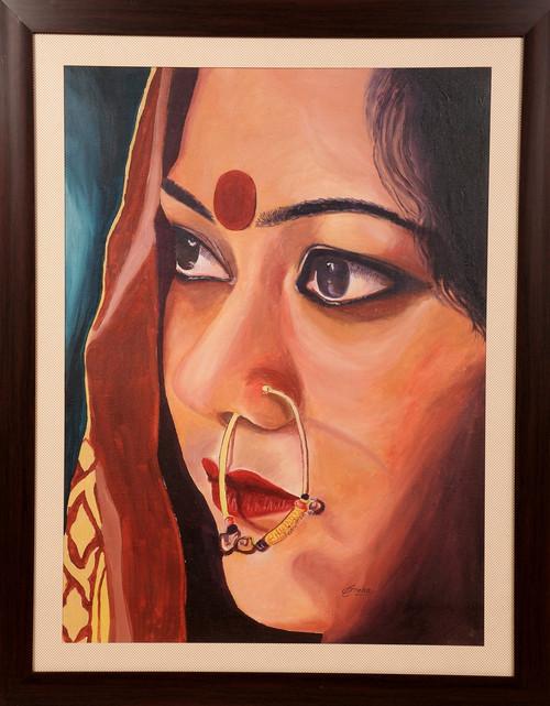 Potrait, Rajasthani lady, Bride, oil painting,BRIDE OF INDIA,ART_1455_11984,Artist : SNEHA SNEHA,Oil