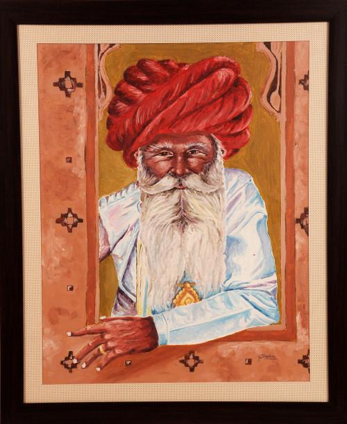 Potrait, Rajasthani man, oil painting,MAN AT JHAROKA,ART_1455_11983,Artist : SNEHA SNEHA,Oil