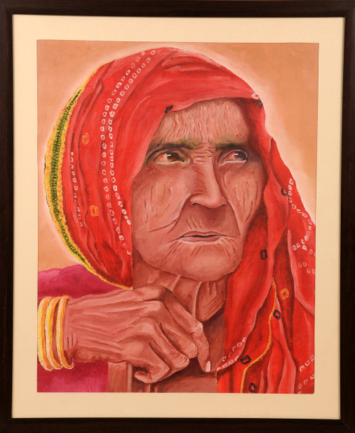 Potrait, Rajasthani lady, oil painting,OLD IS GOLD,ART_1455_11982,Artist : SNEHA SNEHA,Oil