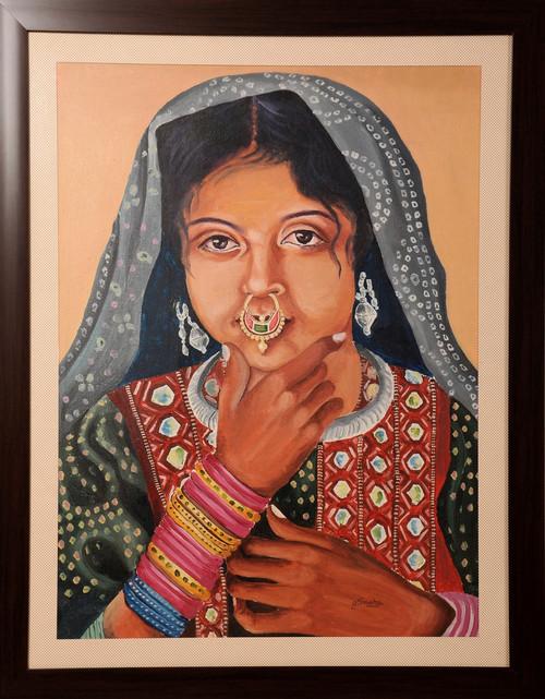 Potrait, Gujarati girl, oil painting,FACE OF GUJARAT,ART_1455_11979,Artist : SNEHA SNEHA,Oil