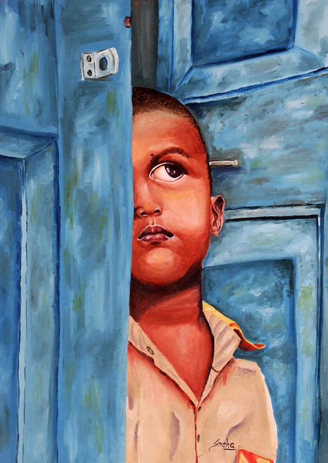 Potrait, Boy, oil painting,BOY WAITING AT DOOR,ART_1455_11978,Artist : SNEHA SNEHA,Oil