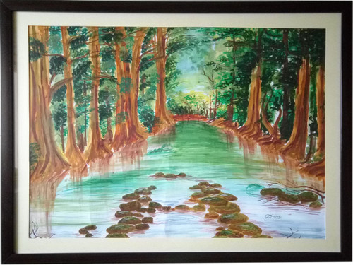 Landscape, Trees, Water,BEAUTY OF NATURE,ART_1455_11977,Artist : SNEHA SNEHA,Poster Colors