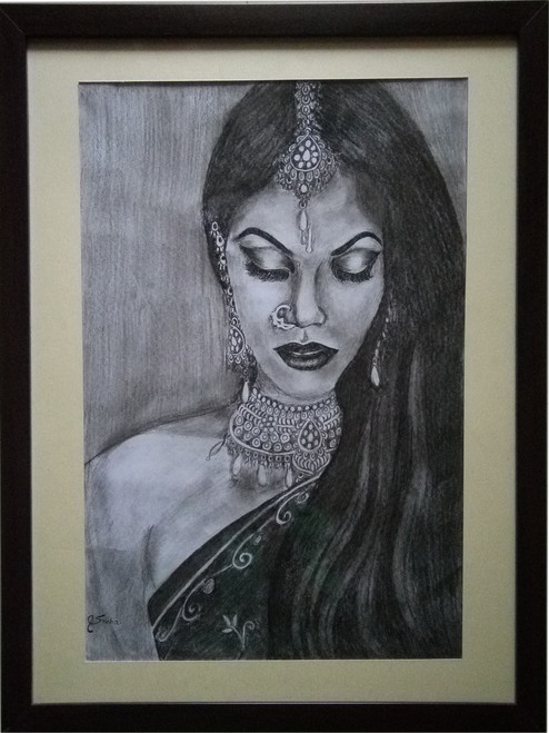 Potrait, Rajasthani lady, Charcoal painting, bride,LADY WITH BRIDAL JEWELRY,ART_1455_11976,Artist : SNEHA SNEHA,Charcoal