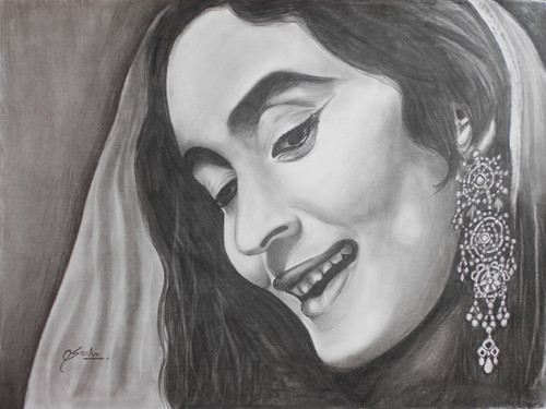 Potrait, Bollywood, charcoal,BOLLYWOOD BEAUTY,ART_1455_11973,Artist : SNEHA SNEHA,Charcoal