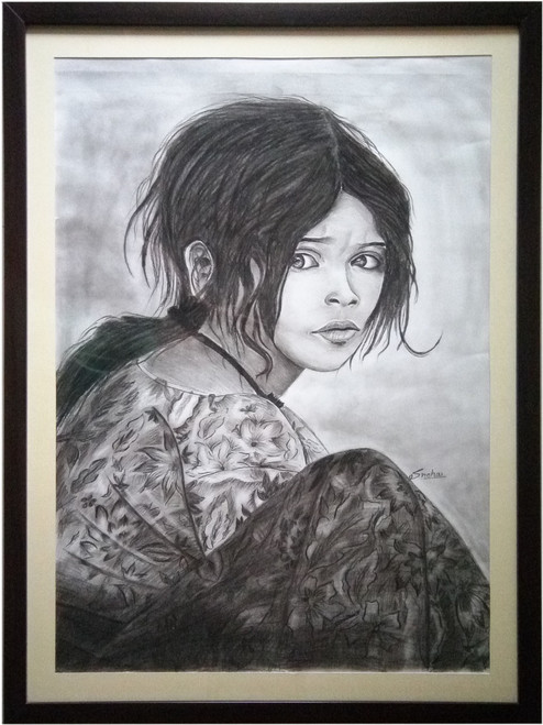 Potrait, Rajasthani lady, oil painting,BEAUTIFUL EYES OF RAJASTHAN,ART_1455_11972,Artist : SNEHA SNEHA,Charcoal