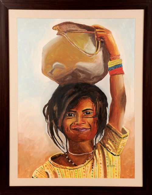 Potrait, Rajasthani lady, oil painting,Young girl with matka,ART_1455_11971,Artist : SNEHA SNEHA,Oil