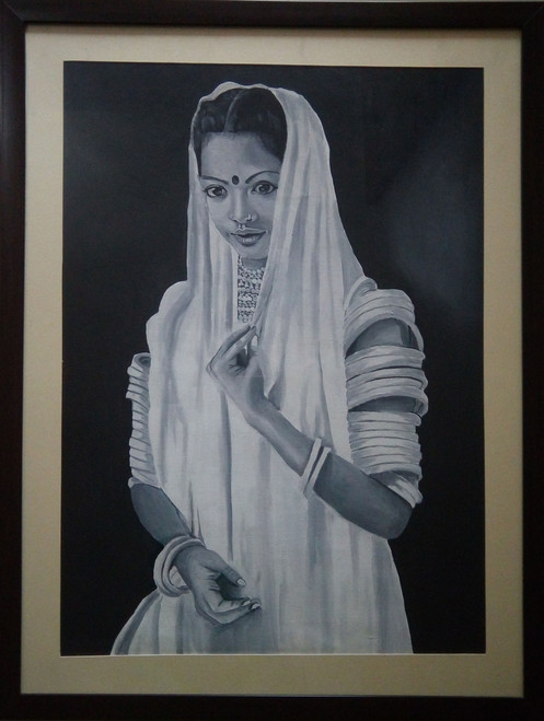 Potrait, Rajasthani lady, oil painting,Beauty of Rajasthan,ART_1455_11969,Artist : SNEHA SNEHA,Oil