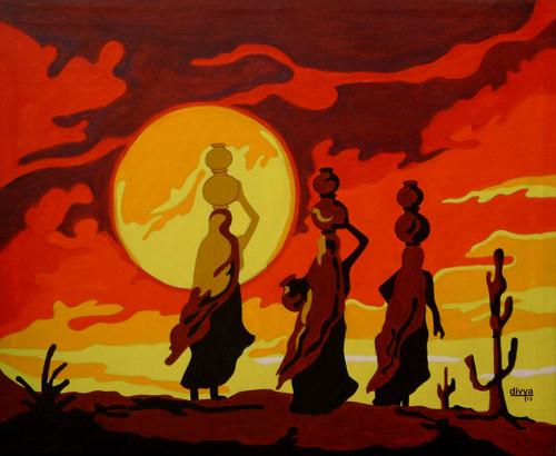 Sunset, Landscape, Human figures, Ladies, Rajasthani, Sun,Sunset in Rajasthan,ART_1462_11955,Artist : Divya Kakkar,Acrylic