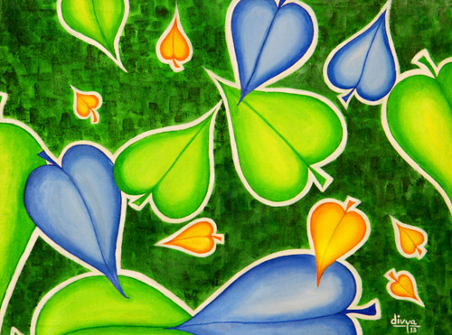 Abstract, Nature, Season, Leaves, Floral,Season,ART_1462_11953,Artist : Divya Kakkar,Acrylic