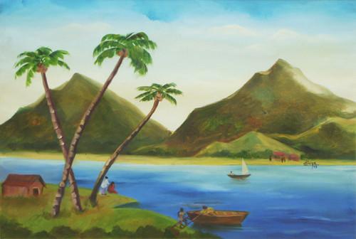 Landscape, Mountains, River, Boat, Coconut Trees,Landscape-VI,ART_1462_11947,Artist : Divya Kakkar,Oil