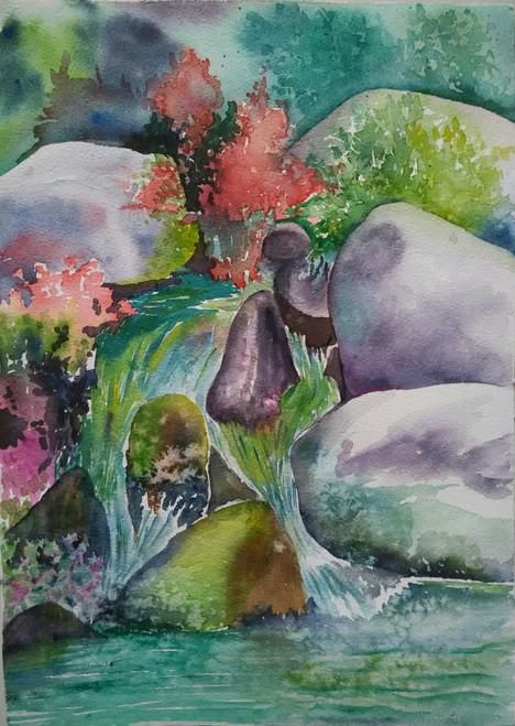 ,waterfall,ART_1243_12014,Artist : Ujwala Chavan,Water Colors