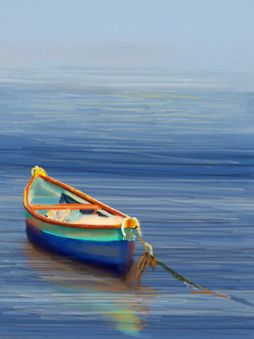 BoatAtCoast - 24in X 32in,28Boat27_2432,Blue, Violet, Mauve,60X80 Size,Landscape and Seascape Art Canvas Painting