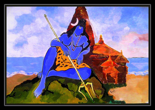 lord shiva,SHIVA : A LORD OF SOMNATH,ART_1033_10169,Artist : PARESH MORE,acrylic