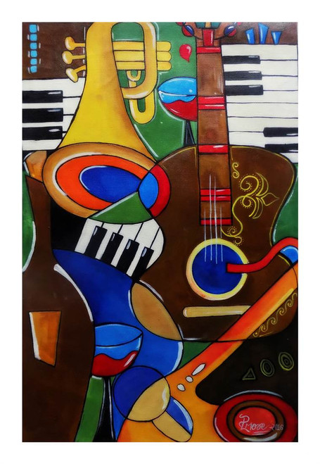 ",MUSIC MANIA  25"" x 16"" rolled canvas,ART_1033_6297,Artist : PARESH MORE,Acrylic on canvas"