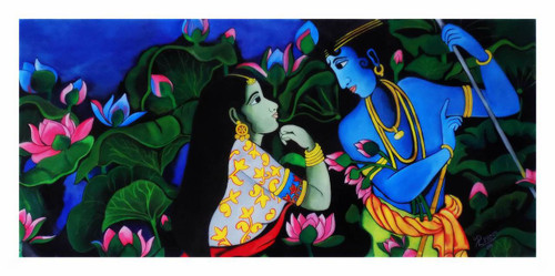 """,Lovers: The Poet's Garden  24"""" X 46"""" ROLLED CANVAS   (INCLUDE 2"""" WHITE  BORDER:,ART_1033_5735,Artist : PARESH MORE,Acrylic"""
