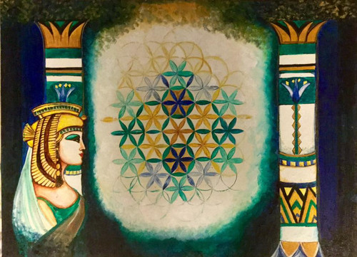 Flower of life, egypt, princess, symbolism,An ancient symbol,ART_414_12050,Artist : Lavanya Venkatesh,Oil
