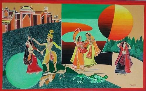 Krishna,Love,Rajasthani,Krishna ras Leela -Rajasthani Shaili Indian Miniature,ART_1454_12040,Artist : Sudha  Sharma,Water Colors
