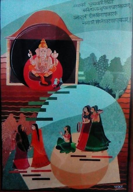 ganesha,Prayer,Women,Indian ,Indian miniature showing girl going for prayer,ART_1454_12037,Artist : Sudha  Sharma,Water Colors