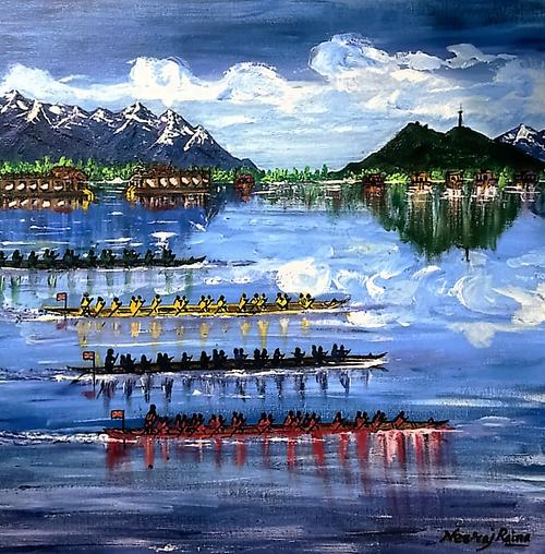 Tyndale Biscoe school ,Dal Lake Kashmir,Tyndale Biscoe Boys On A School Regatta Day,ART_1252_12031,Artist : Neeraj Raina,Acrylic