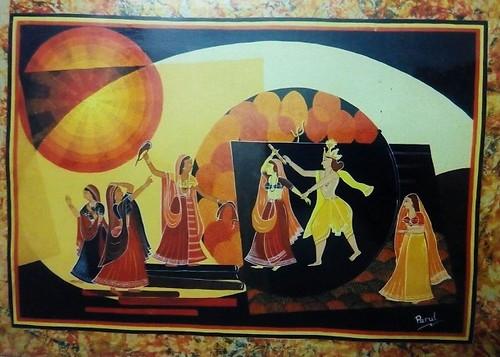 Krishna,Love,Krishna Ras leela with Gopis,ART_1454_12069,Artist : Sudha  Sharma,Water Colors