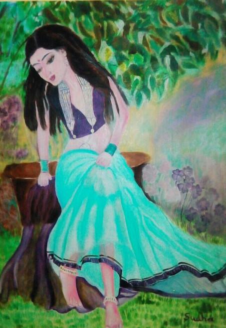 Women,Love,,Beloved thinking of his love ,ART_1454_12067,Artist : Sudha  Sharma,Oil