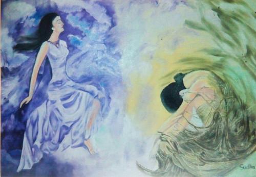 Women,Society,Girl,peace,pain,Women -peace,Love,pain,ART_1454_12066,Artist : Sudha  Sharma,Oil