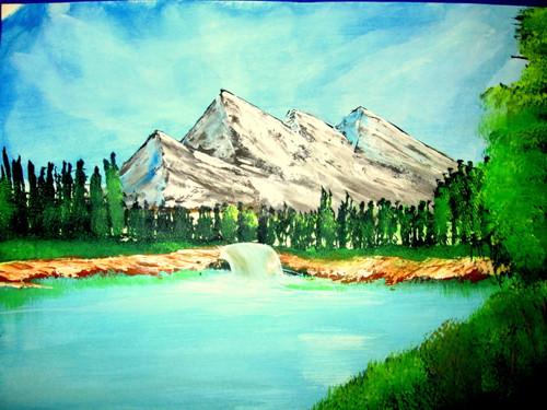 ,mountain river art24072,ART_1456_12018,Artist : Harshit Garg,Water Colors