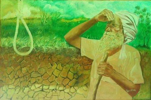 Farmer,depression,Farmer thinking of future,ART_1454_11949,Artist : Sudha  Sharma,Oil