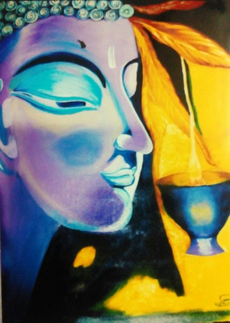 Buddha,Buddha Enlightment,ART_1454_11922,Artist : Sudha  Sharma,Oil