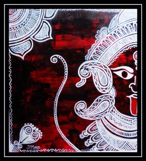 ",maa kali rangoli 20"" x 21"",ART_1033_4438,Artist : PARESH MORE,ACRYLIC ON CANVAS"