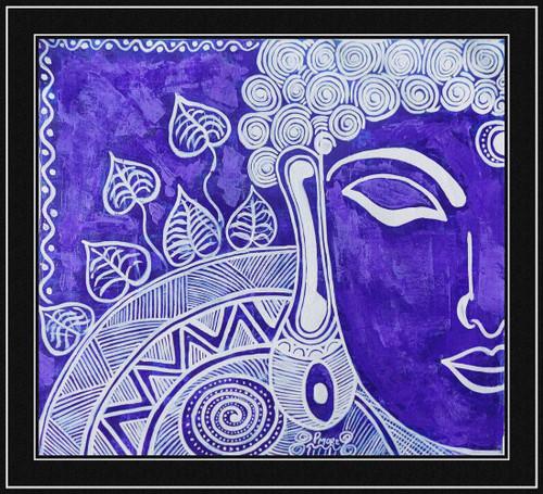 ",buddha mehindi on canvas (W )22""  x 20"" (H),ART_1033_4416,Artist : PARESH MORE,ACRYLIC ON CANVAS"