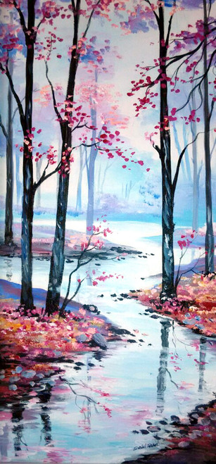 tree,nature, landscape, modern,abstract, interiar,dream nature1,ART_748_12165,Artist : Sushil Tarbar,Acrylic