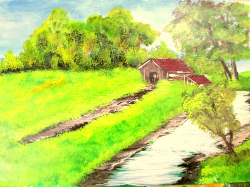,meadow stream art240710,ART_1456_12166,Artist : Harshit Garg,Acrylic