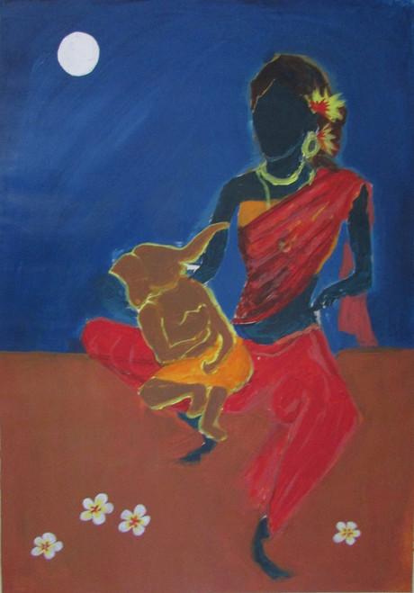 Ganesha, Mom, Mother, Mother's love, Affection, Motherhood, Religion, Durga, Shakthi, Parvathi,Ganesha and Parvathi,ART_88_11114,Artist : Thiruvikraman Ramadoss,Acrylic
