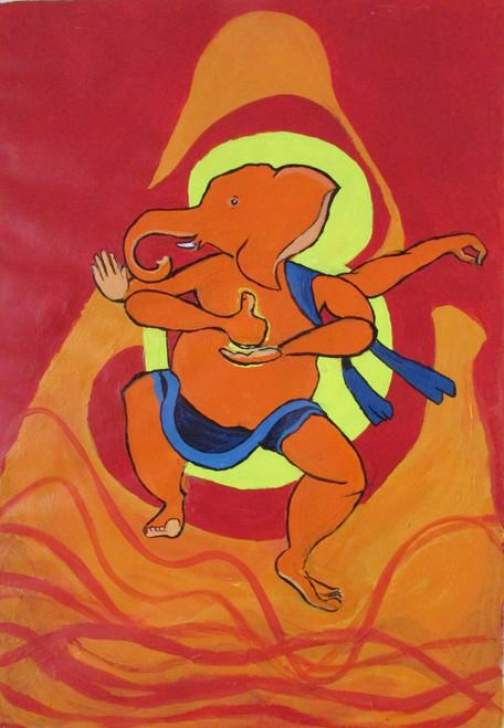 religious painting, red, orange shade painting, ganesha painting,Ganesha's Dance Linga Mudra,ART_88_10994,Artist : Thiruvikraman Ramadoss,Acrylic