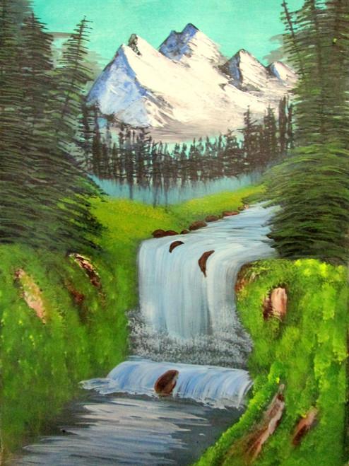 ,Valley waterfall art240712,ART_1456_12182,Artist : Harshit Garg,Acrylic