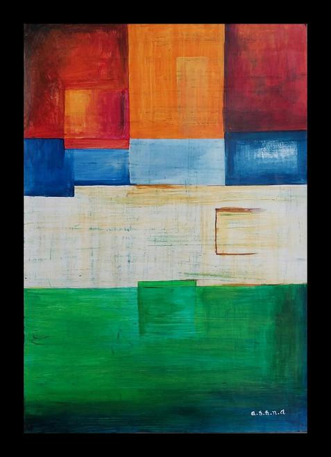 Modern art , warm shades , abstract ,Four Corners,ART_1499_12179,Artist : Ashna Ralh,Acrylic