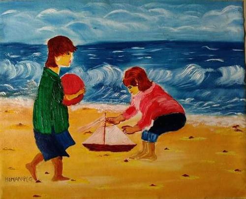 childhood, Sea shore,childhood,ART_1337_12173,Artist : HEMANGI GAWAND,Oil