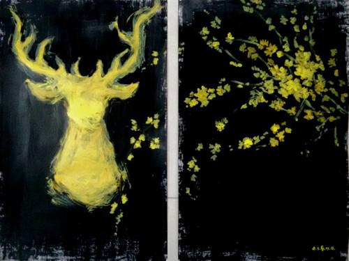 Deer, modern art, abstract, unique , royal,Yellow Deer ,ART_1499_12188,Artist : Ashna Ralh,Acrylic